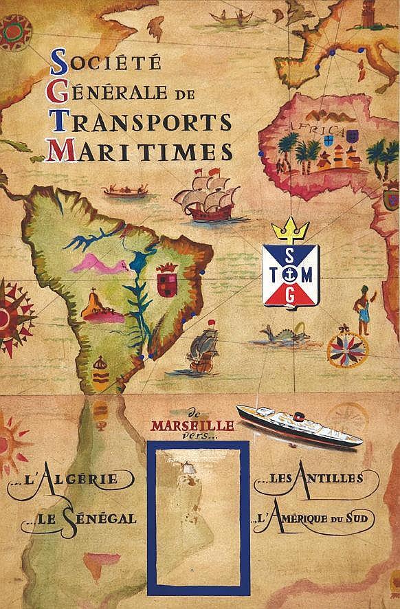 Société Générale des Transports Maritimes gouache     vers 1930