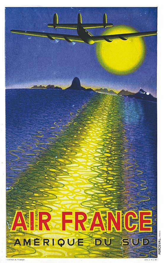 VASARELY VICTOR  Air France Amérique du Sud ( Baie de Rio ).     1949