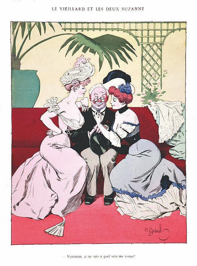 GERBAULT H. Le Vieillard et les Deux Suzanne vers 1900