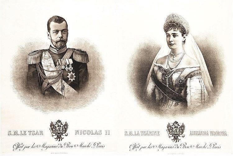 Lot de 2 affiches : S.M. Le Tsar Nicolas II & La Tsarine Aleksandra Fedorovna     1896