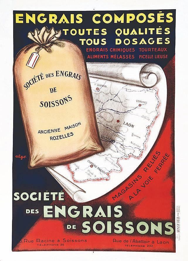 ALGO  Engrais Composés Sté des Engrais de Soissons rare     1930  Soissons (Aisne)