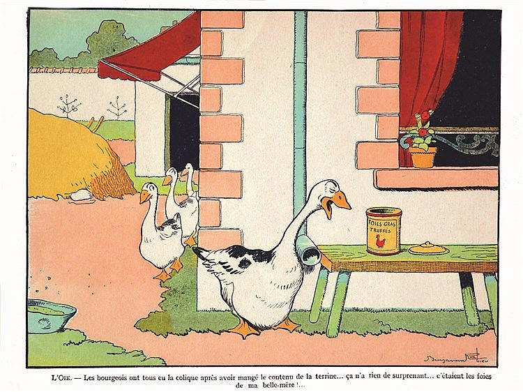 RABIER BENJAMIN  L'oie - Les Bourgeois ont tous eu la Colique après Avoir Mangé le Contenu de le Terrine     vers 1900