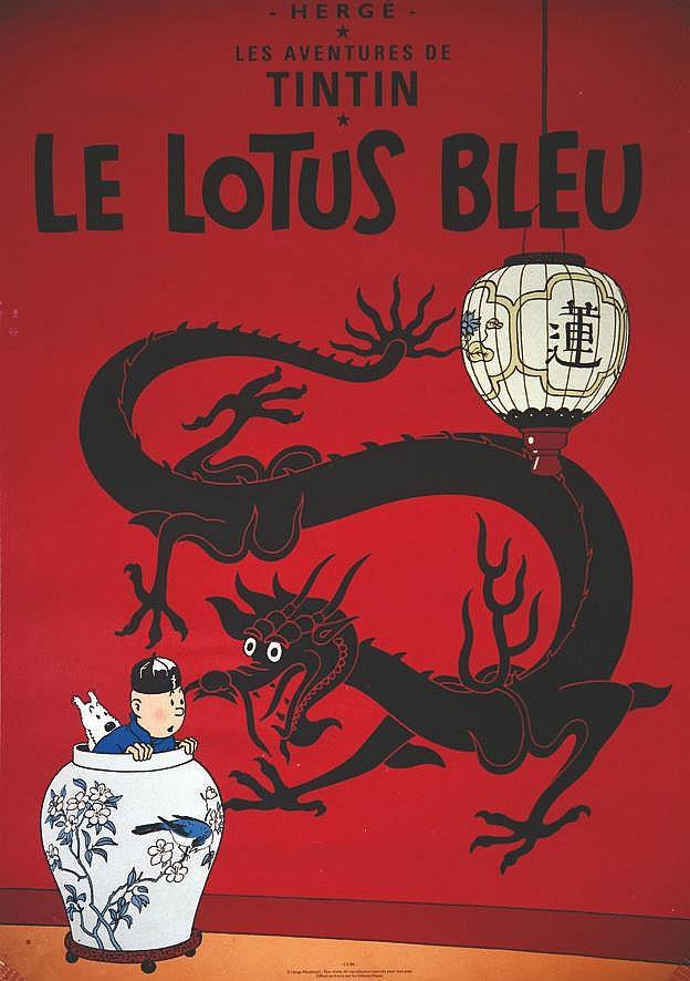 HERGE Le Lotus Bleu vers 1980