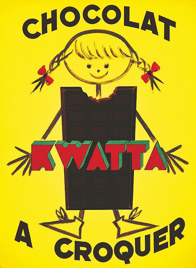 LE COMTE Y.  Chocolat Kwatta à croquer  - Gouache non signée     vers 1950