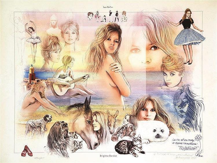 GACIA ANTONIO Brigitte Bardot affiche signée par Antonio Gacia 2010