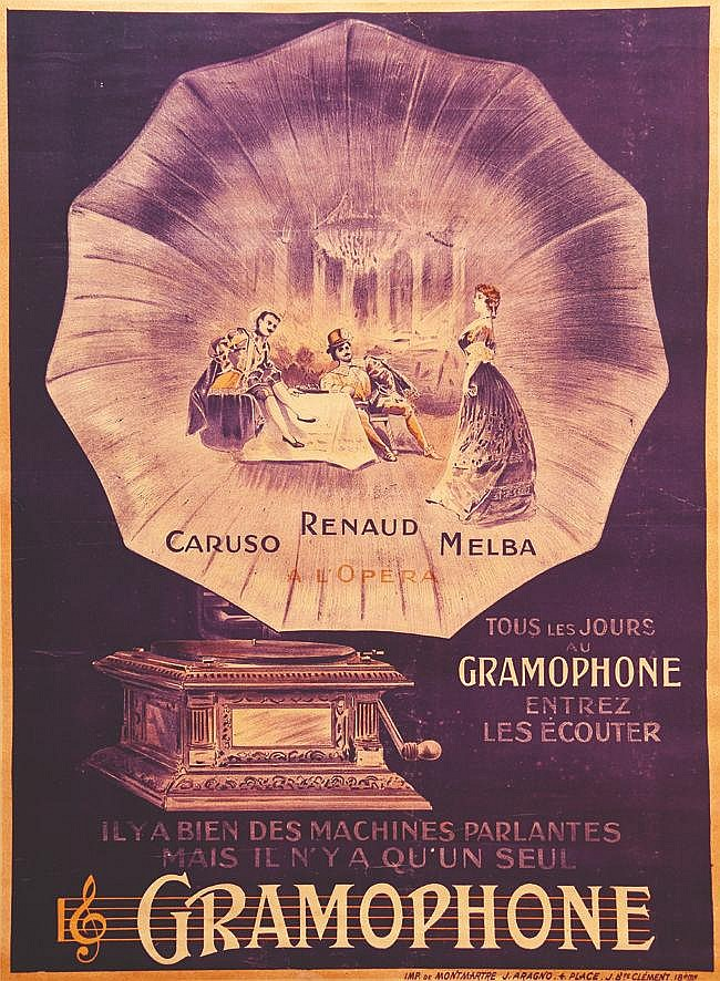 Gramophone - Caruso Renaud Melba vers 1900