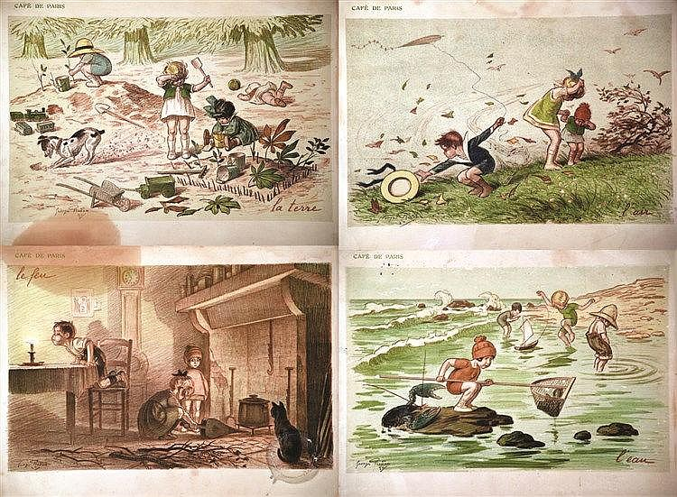 REDON GEORGES  Lot de 4 Menus par Georges Redon     vers 1900