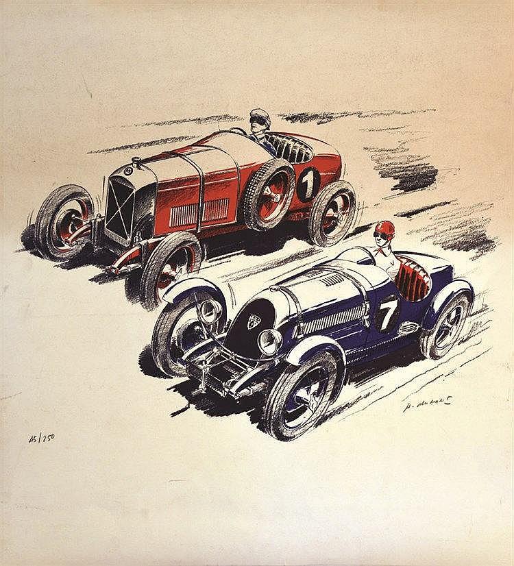 DUMONT PIERRE  Course  de Vieilles voitures à Montlhéry ? Lithographie signée et numéroté par P. Dumont     vers 1970  Montlhéry (Essonne )
