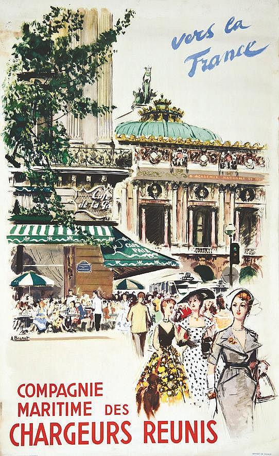 BRENET ALBERT  Compagnie des Chargeurs Réunis - Vers la France ( L'Opéra )     vers 1950