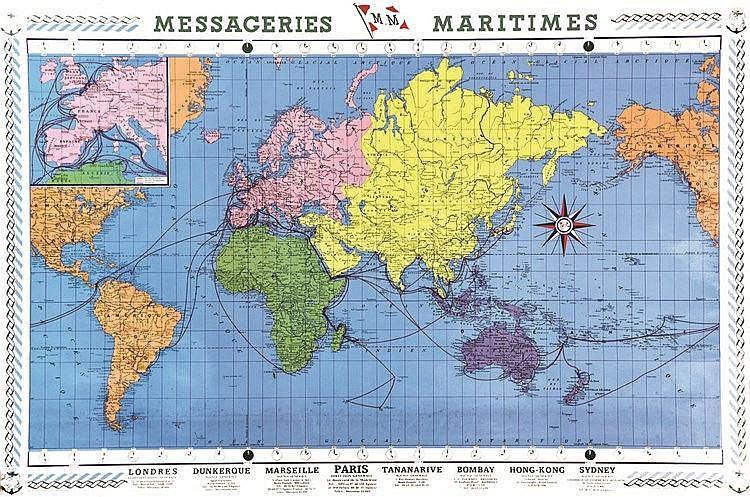 Planisphère des Messengeries Maritimes     1960