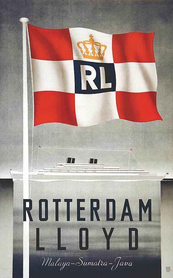 ACH. SIROUY LITH.  Rotterdam Llloyd - Malaga Sumatra Java     vers 1930