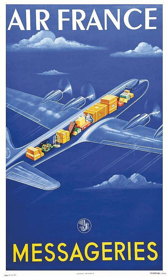 ATELIER PERCEVAL Air Frances Messageries 1950