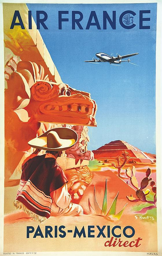 PROUST S.  Paris Mexico Direct Air France     1952