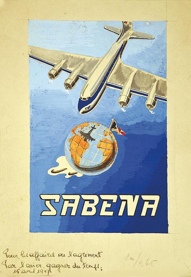 Sabena - Pour les affaires ou l'agrément … Gouache vers 1950