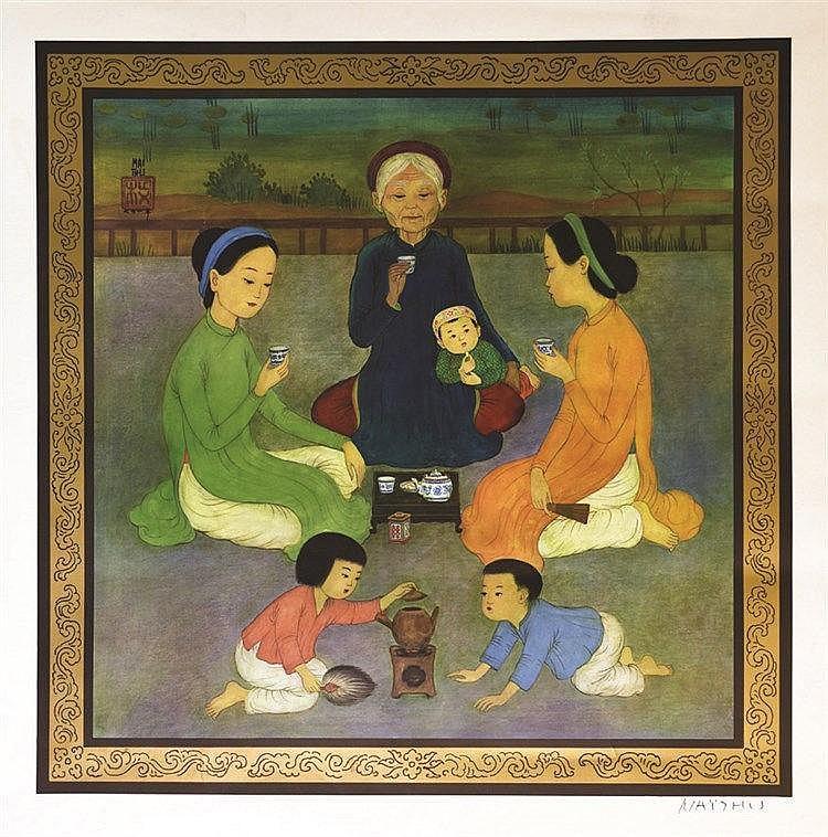 MAI THU ( Mai Trung Th? ) La Cérémonie du Thé affiche signée de la main de MAI THU ( Mai Trung Th? ) vers 1970