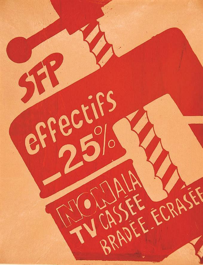 SFP effectifs - 25 % Non à la TV Cassée Bradée Ecrasée     vers 1970