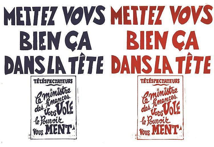 Lot de 2 Aff/ Post : Téléspectateurs Le Ministre des finances vous vole - Le Pouvoir vous ment     vers 1970