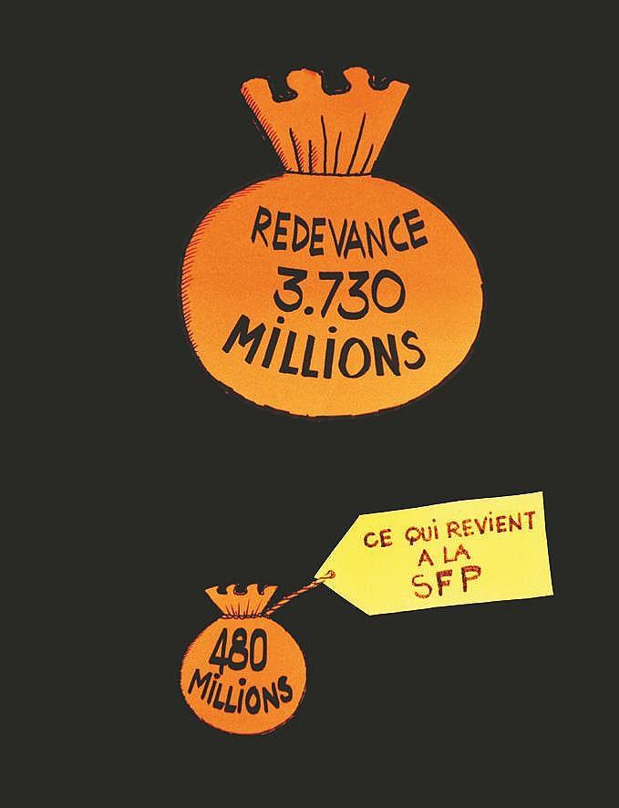 Redevance 3 730 Millions 480 Millions ce qui revient à la SFP pièce Unique : Collage & découpage     vers 1970
