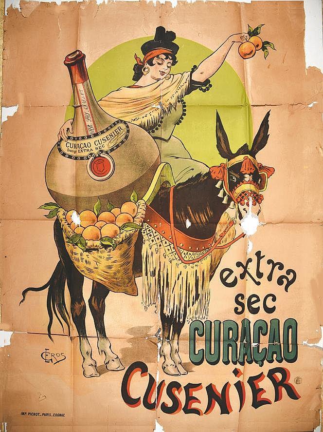 GROS E.  Cusenier - extra sec Curacao     vers 1900