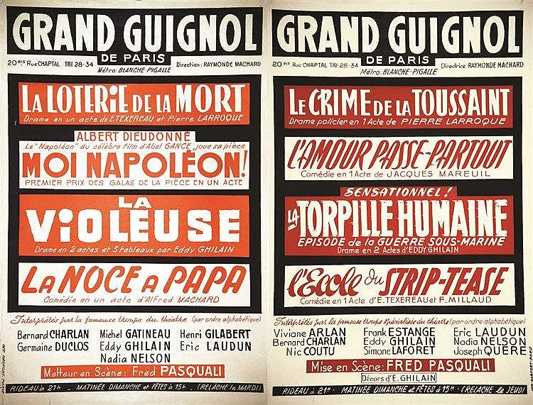 Lot de 2 Affiches Programme du Grand Guignol     vers 1930