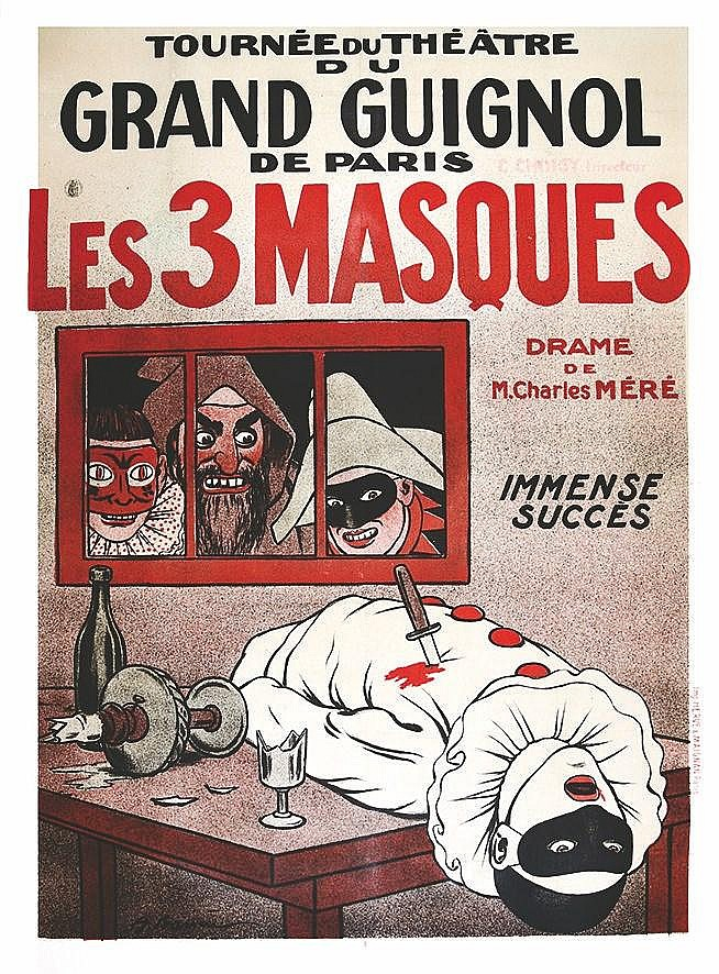 BARRERE A.  Les 3 Masques - Tournée du Grand Guignol de Paris     vers 1900