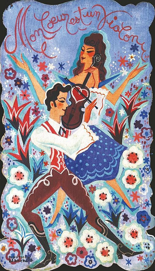 BLANCHARD JEAN Mon Coeur est un Violon (Chanson Lucienne Beyer ) Huile sur Bois Signée Maurice Blanchard 1945