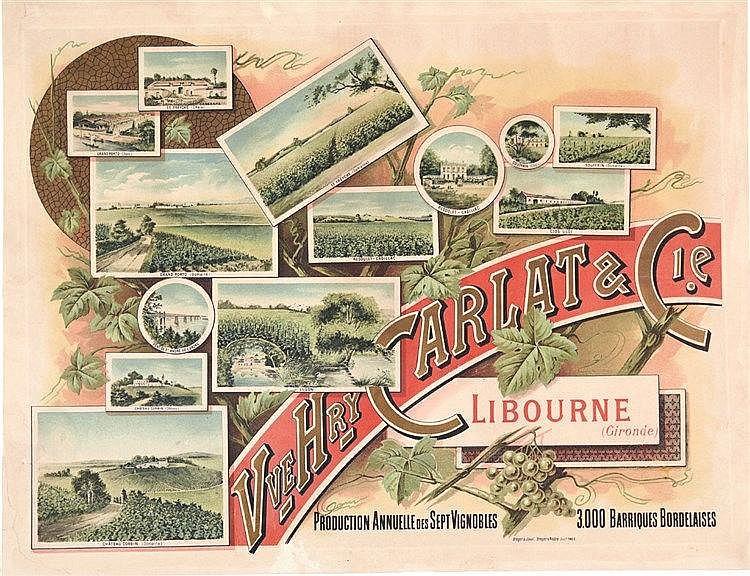 Vve Henry Carlat & Cie - Production Annuelle des 7 Vignobles Bordelaise 3000 bariques vers 1900 Libourne (Gironde)