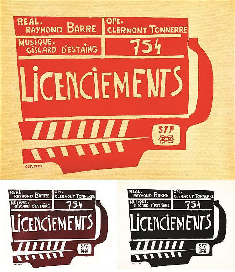 Lot de 3 Aff / Post :754 Licenciments : Real: Raymond Barre Ope: Clermont Tonerre vers 1970