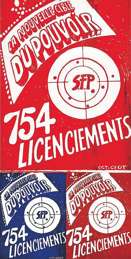 Lot de 3 Aff / Post : La Nouvelle Cible du Pouvoir SFP 754 Licenciements     vers 1970