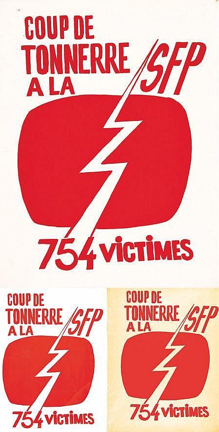 Lot de 3 Affiches/ Posters : Coup de Tonerre à la SFP 754 Victimes     vers 1970