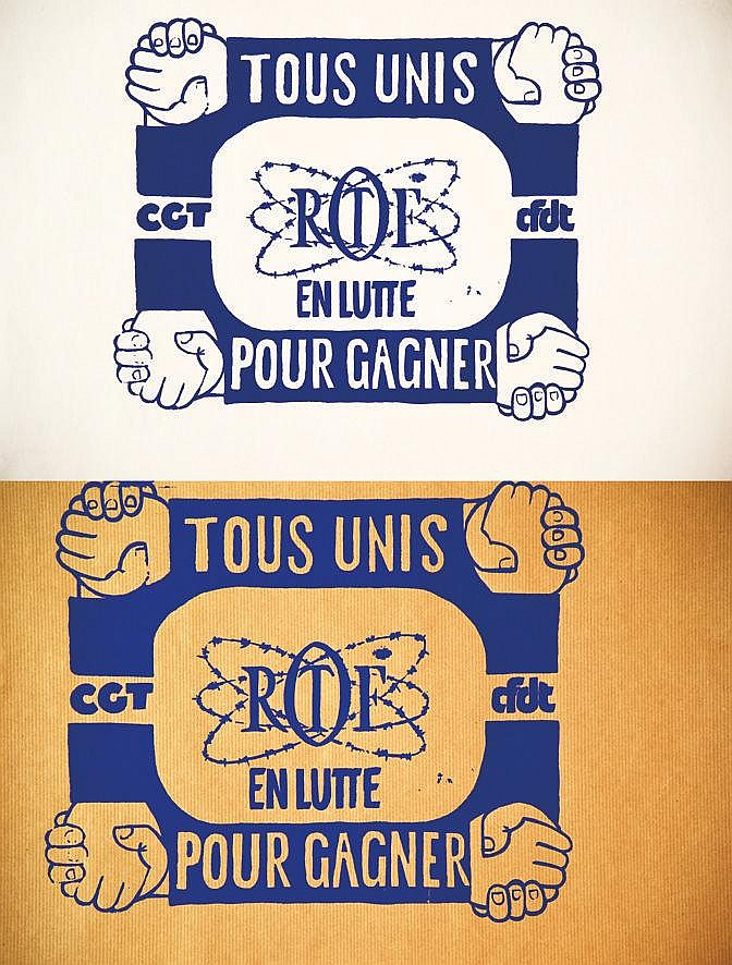 Lot de 2 Aff / 2 Posters : Ortf Tous Unis en Lutte Pour Gagner     1974