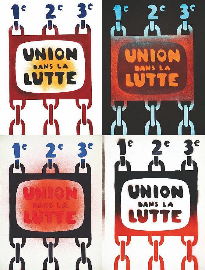 lot de 4 Affiches / Posters :1er 2ème 3ème : Union dans la Lutte ( SFP & ORTF) vers 1970
