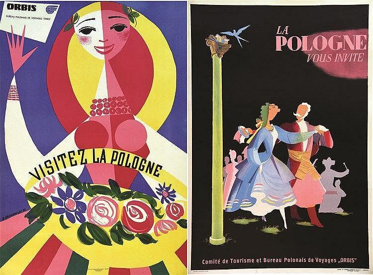 SROKOWSKI J.  Lot de 2 Affiches / Posters : Visitez La Pologne / La Pologne vous invite     1956