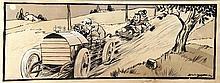 La Course lithographie avec de Réhauts de Gouache signée illisible     1906