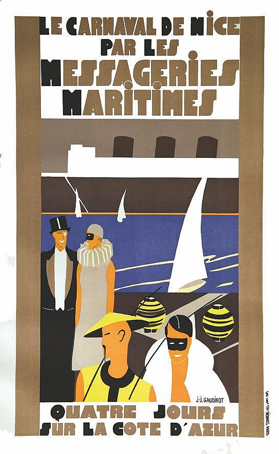 GAUDINOT J.J.  Le Carnaval de Nice par les Messageries Maritime     vers 1930