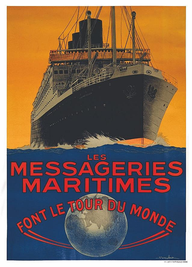 HOOK SANDY Les Messageries Maritimes font le Tour du Monde vers 1930