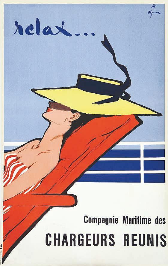 GRUAU RENE Relax... Compagnie Maritime des Chargeurs Réunis vers 1950