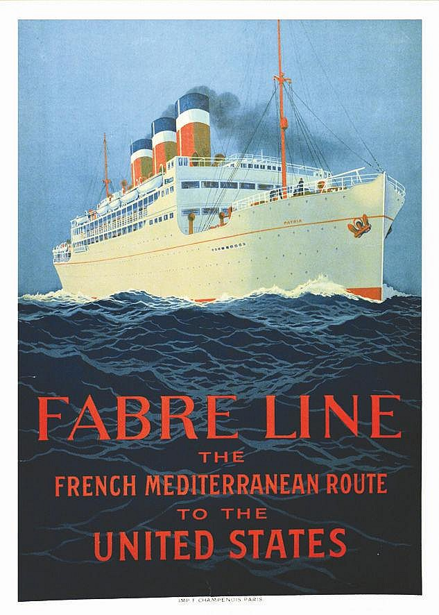 HOOK SANDY  Fabre Line - The Frech Mediterranean route to the United States. Paquebot  Patria.     1919