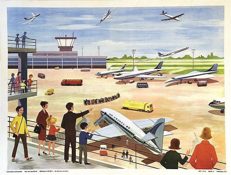 Orly - L'Aéroport avec des avions Air France - Luc et Caroline vers 1970