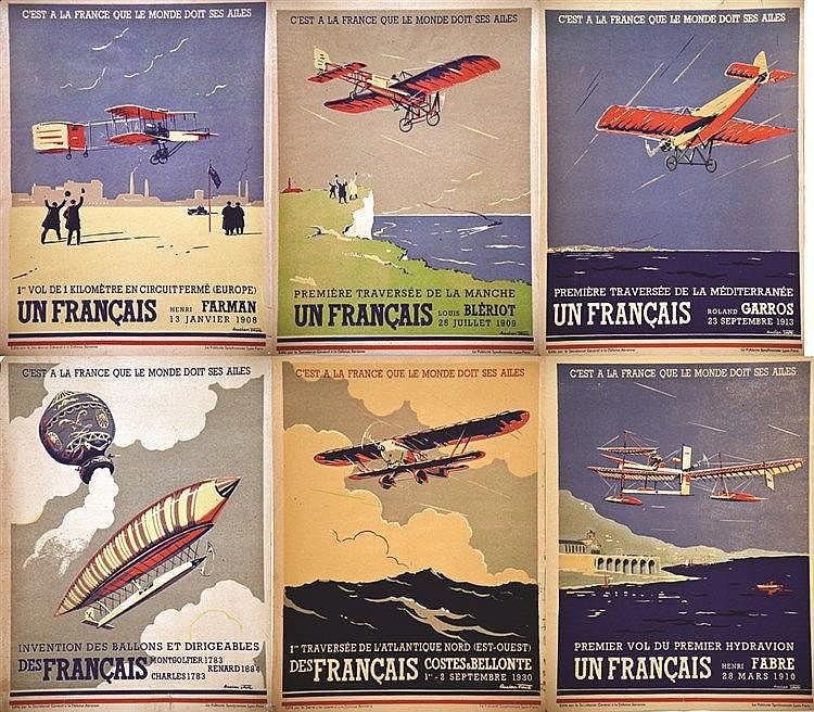 CARRE LUCIEN  Lot de 6 Aff : C'est à La France que le Monde doit ses Ailes     vers 1930
