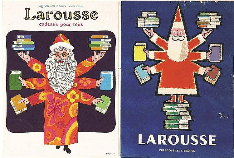 CARLU JEAN Lot de 2 affiche Larousse par Jean Carlu vers 1950