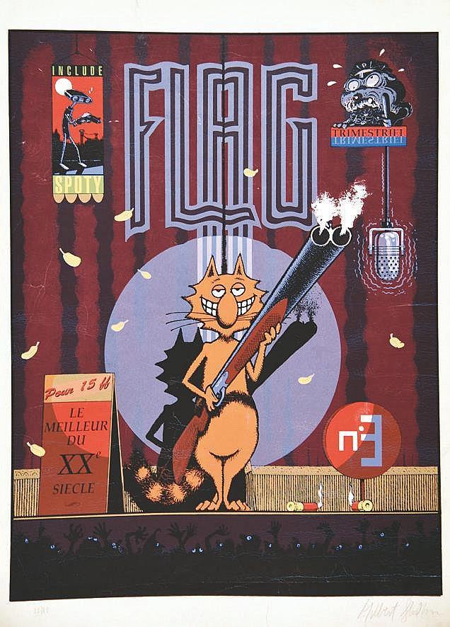 FULTON HUBERT  Flag Trimestriel Lithographie signée Hubert Fulton     vers 1980