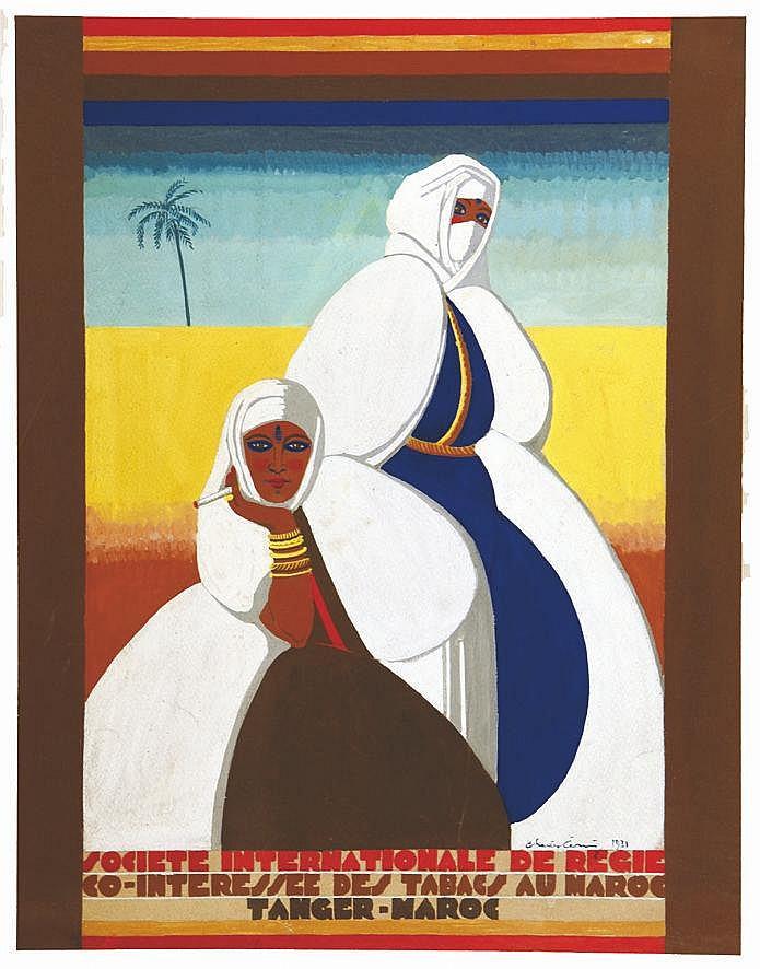 CERNY  CHARLES  Société Internationale de Regie Co-Intéressé des Tabacs Au Maroc - Tanger Gouache signée Ch. CERNY     1931  Tanger - Maroc