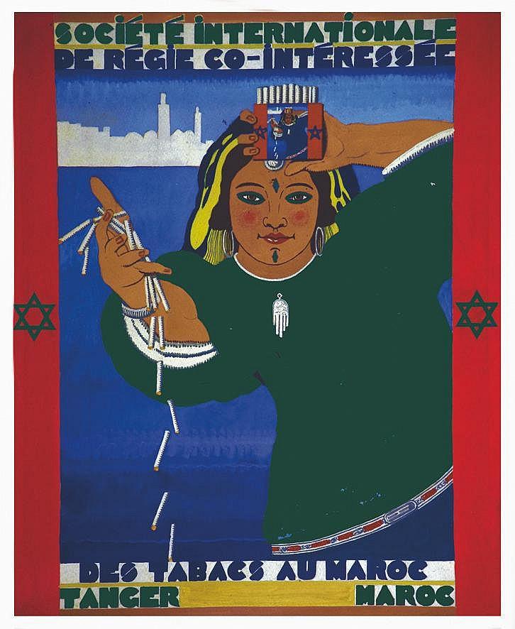 CERNY  CHARLES  Société Internationale de Regie Co-Intéressé des Tabacs Au Maroc Tanger Gouache non signée Ch. CERNY     1931