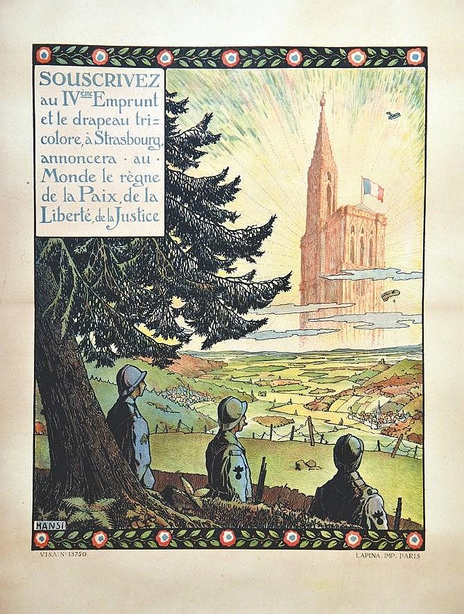 HANSI  Le Drapeau Tricolore à Strasbourg     vers 1917