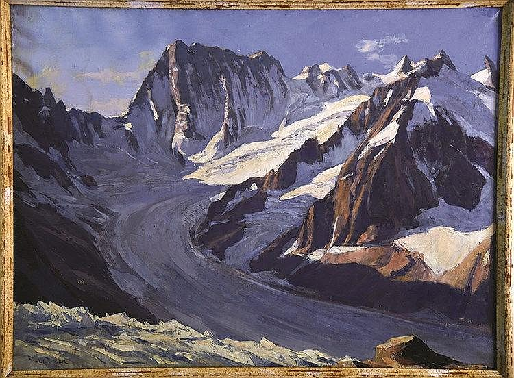 BOULANGER ALBERT ( 1901 - 1978 ) Les Grandes Jorasses: Vue du Couvercle - Mont Blanc huile sur toile / Oil on canvas sign Boulanger Vers 1930