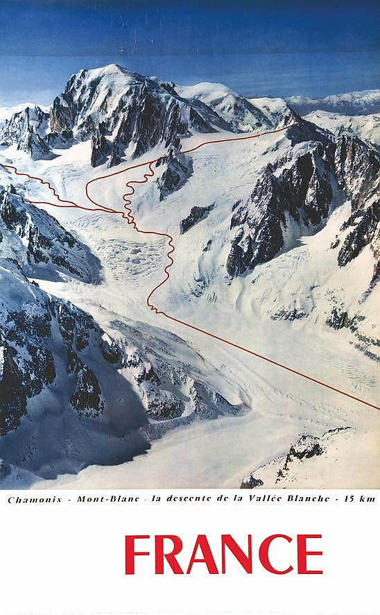 PHOTO : TAIRRAZ France - Chamonix Mont- Blanc La Descente De La Vallée Blanche 15 km 1960