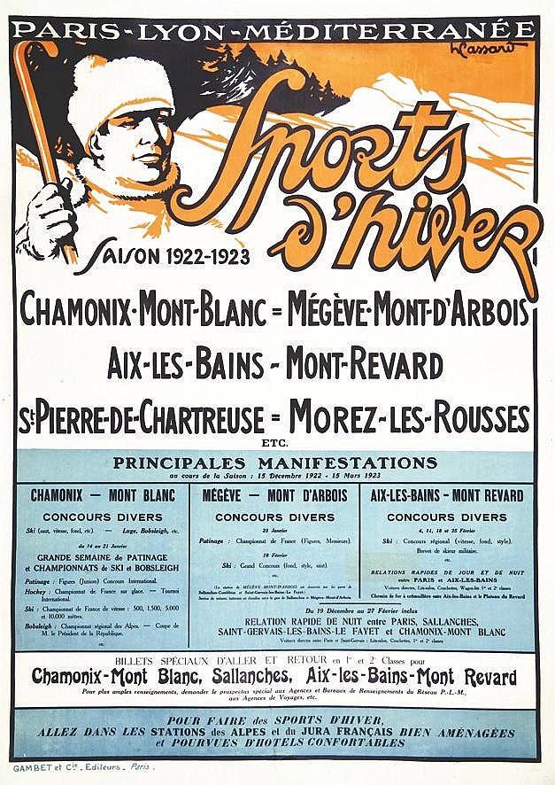 CASSARD H.  Sports d'Hiver Chamonix Mont Blanc Mégève - Mont D'Arbois - Saison 1922 _ 1923     1922