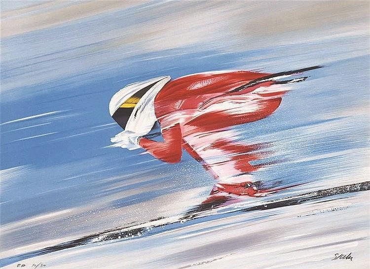 SPAHN Skieur - Lithographie signée par Spahn vers 1980