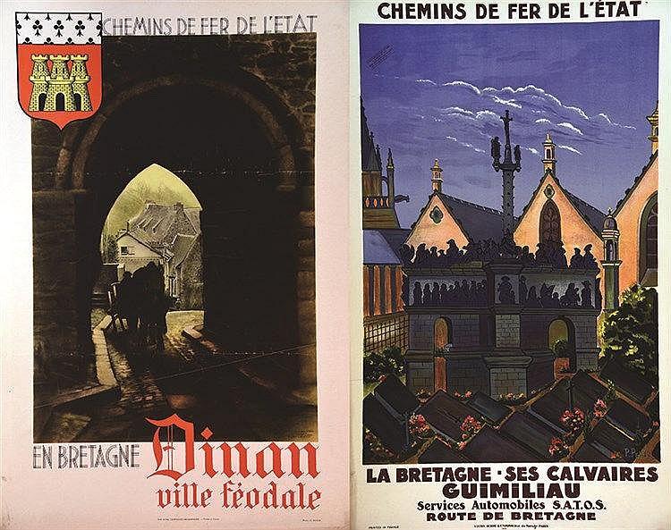 PETIT P.  Lot de 2 Aff : Guimiliau  & Dinan Ville Féodale - En Bretagne     vers 1930